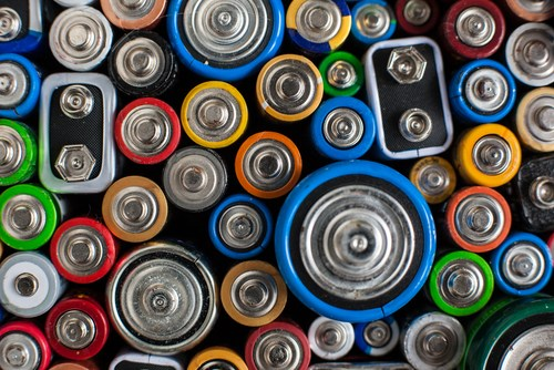 Battery recycling colourful batteries